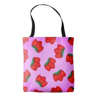 Strawberry pattern tote bag