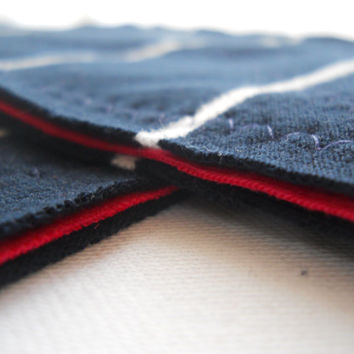 Cleaning Cloths-Set of 2 Navy Stripes Red Recycled T Shirt Kitchen Dish Cloth Sponge Substitute Great Gift