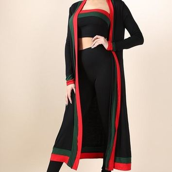 Faviola Black Red Stripe Outline Three Piece Set