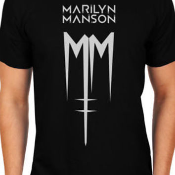 New Marilyn Manson MM Men T-Shirts Sizes S-2XL, Ultra Cotton Black and Navy Tee