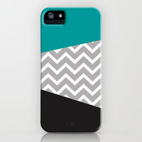Teal Black Grey Chevron iPhone Case iPhone & iPod Case by RexLambo
