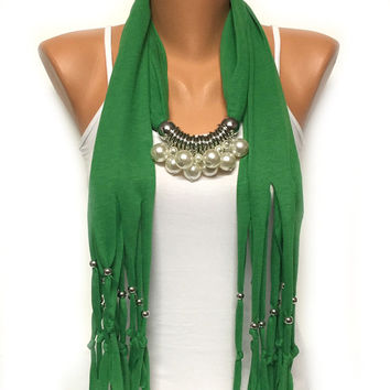 CHRISTMAS SALE green pearl jewelry scarf with beads Christmas gift or for you high fashion scarf