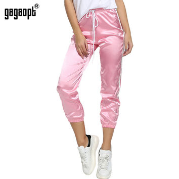 Gagaopt 2017 Spring Autumn Pants Women Long Solid Trousers Side Striped Fashion Lady Sweatpants Drawstring Mid Waist Lady Pants