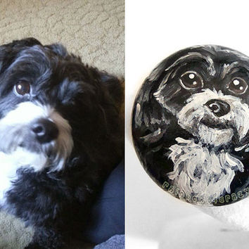 Custom Pet Portrait, Hand Painted Rock Art, Pet Stone, Dog Painting, Cat Loaf, Pet Memorial, Pet Loss Gift