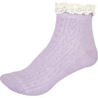 Light purple lace frill ankle socks