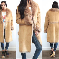 Vintage 90s FAUX SHEARLING Fur Penny Lane Long Brown Tan Coat Jacket // Hippie Hipster Gypsy Boho // XS Extra Small / Small / Medium