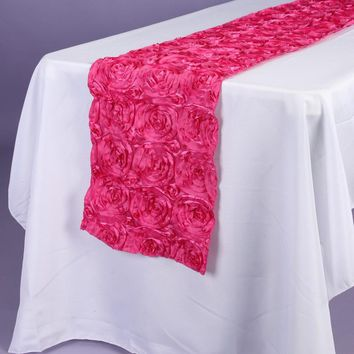 Satin Rosette Table Runner with Serged Edge, 14-Inch x 108-Inch