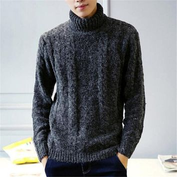 Turtleneck Sweater Men Long Sleeve Crose Wool Pullovers Homme Korean Fashion Slim Fitness Thick Sweater Winter Warm Pull Homme