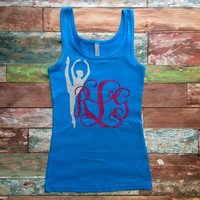 Glitter Monogrammed Tank top, Monogrammed Cheer Tank Top, Glitter Bow Monogram Shirt for Girls, Teens, Dancewear Cheer Gymnastics