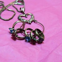 Vintage Sterling Silver Charm NecklaceBirthstone Ring CharmsSterling Silver Box Chain (SN 807)