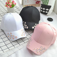 2017 new fashion plum flower embroidered baseball cap visor dad hat for women girls caps chance the rapper