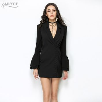 Adyce New Women Slim Trench Coat Black White Sexy V-Neck Single Breasted Petal Sleeve Long Style Women Out Wear Club Coat