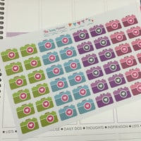 FREE SHIPPING C8 camera photo photography stickers for Erin Condren Life Planner/Plum Paper Planner - set of 48