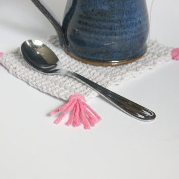 Crochet Mug Rug, Modern Decor, Crochet Coaster, Gray and Pink, Colorful Home Decor, Tassels, Coffee Table, Kitchenware, Coffee Tea Time