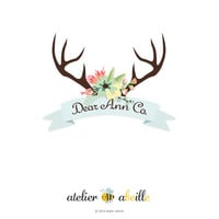 premade logo design etsy shop logo website logo blog logo watermark signature business identity design floral wreath deer antler logo design