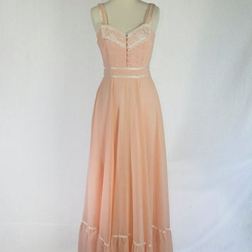 Vintage 1970's Gunne Sax Dress Prairie Peach with Corset top Boho Hippie Dream