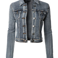 LE3NO Womens Vintage Cropped Long Sleeve Washed Denim Jean Jacket with Pockets