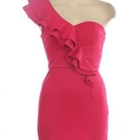 One Shoulder Ruffle Front Dress with Sweetheart Neckline