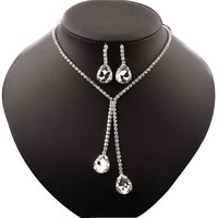Womens Rhinestone Crystal Pendant Statement Necklace