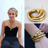 Vintage Bendable Gold Tone Snake Necklace Bracelet Black Eyes Statement
