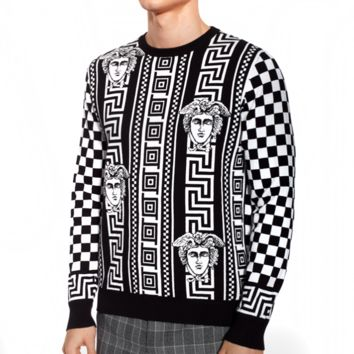 Versace Fashion Men Women Casual Jacquard Long Sleeve Round Collar Sweater Pullover Top Sweatshirt