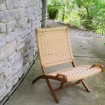 Mid-Century Hans Wegner Style Folding Rope Scissor Lounge Chair MCM Armless Chair