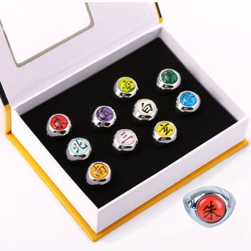 HOT Anime Naruto Rings 10pcs Akatsuki Cosplay Member's Full Set Sasori Itachi Hidan Deidara Costume Accessories