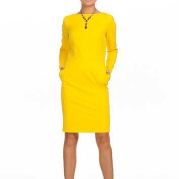 Bright Yellow Dress,Summer Fashion,Dress long sleeve, Bridesmaid dress,Office Fashion,Yellow Party,Formal dress, Cocktail dress