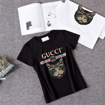 Gucci gold thread, heavy duty embroidery, sequins, cat short sleeves, gilt T-shirts, old women's printed cat heads Tee