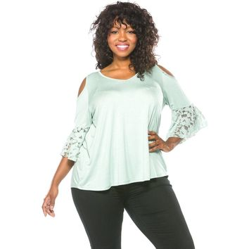 Plus Size Boho Lace Bell Sleeves Cold Shoulder Top
