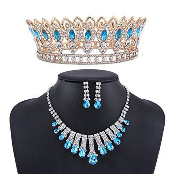 SHIP BY USPS: Santfe Queen Aquamarine Gems Crystal Rhinestone Bridal Wedding Prom Crown Necklace Earrings Jewelry Set (style3)