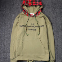 High Quality Supreme Unisex Plaid Hip-hop Hoodies [9556168519]