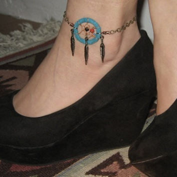 Dream Catcher Anklet or Bracelet- Turquoise Leather Dreamcatcher Adjustable Chain Feather Charm Wearable Ankle Tattoo