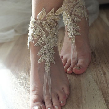 Free Ship  bridal anklet, gold embrodeired, Beach wedding barefoot sandals, bangle, champagne wedding anklet, anklet, bridal, wedding