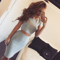 Fashion round neck tight two-piece dress