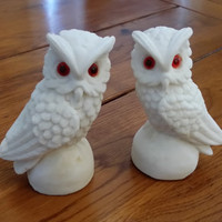 Set of 2 White Vintage Owl Figurine Statue Great Spring Woodland Decor