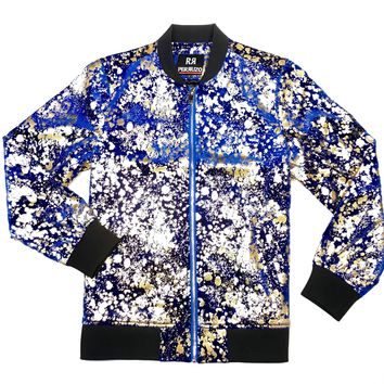 Golden Paint Splatter Bomber Jacket