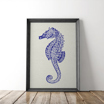 Antique Blue Seahorse Digital Wall Art -- Vintage Nautical Marine Sea Life Beach 8 x 10 Bathroom Living Room Den Instant Download