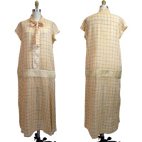 1920s Cotton Day Dress in Windowpane Plaid with Gingham Check