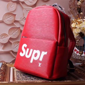 LV SUPREME RED LEATHER BACKPACK BAG
