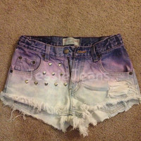 high waisted Purple ombre denim shorts