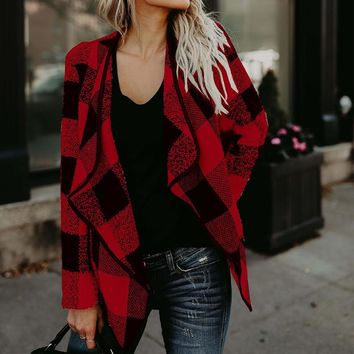 Trendy 2018 Autumn Outwear ZANZEA Women Vintage Plaid Check Jackets Casual Lapel Neck Long Sleeve Loose Elegant OL Work Coat Plus Size AT_94_13