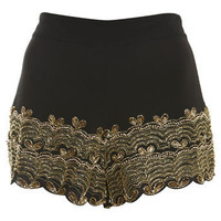 Black Embellished Hem Shorts - Shorts  - Apparel