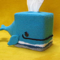 Whale Tissue Box Cover Cozy Animal Amigurumi Crochet --- PATTERN --- PDF