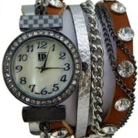 DESIGNER INSPIRED WRAP AROUND BRACELET WATCH-BROWN/SILVER