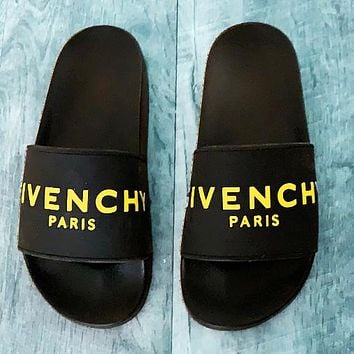 Givenchy Trending Classic Slippers Women Men Letters Sandals yellow word+Black soles