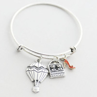 Dorothy's Wizard of Oz Bangle; Silver Charm Bangle with Hot Air Ballon, Puppy in a Basket, Ruby Red Shoes, Oz Charm Bracelet, Gift for Her