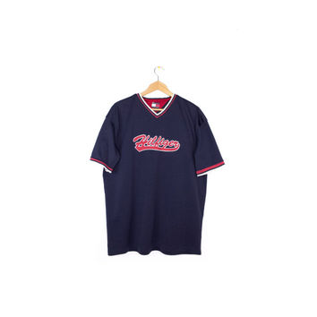 TOMMY HILFIGER jersey shirt - retro athletic baseball logo - L - XL