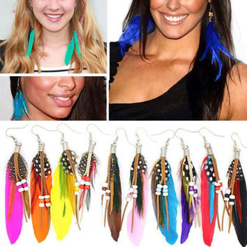Newly Arrival 12 Colors Beading Goose Feather Woman Dangle Earrings Charming Jewelry Accessories EAR-0110