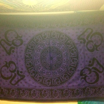 Purple Ohm Chakra Tapestry Wall Hanging Bedspread